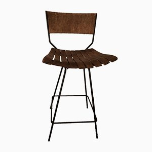 Rush, Wood & Iron Swivel Bar Stool by Arthur Umanoff, 1950s