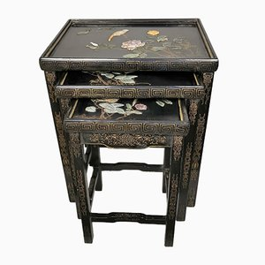 Vintage Lacquered Wood and Hard Stone Inlay Nesting Tables