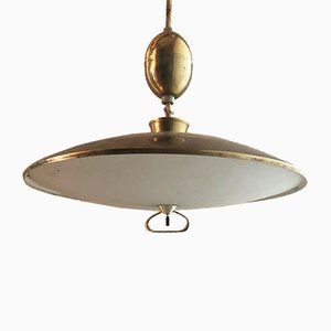 Vintage Adjustable Brass Pendant Lamp, 1950s