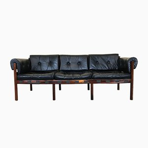 Vintage Rosewood & Leather Love Seat by Arne Norell for Coja