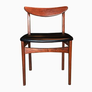 Danish Teak & Black Vinyl Desk Chair, 1960s