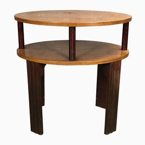 Two-Tiered Art Deco Walnut Pedestal Table, 1930s