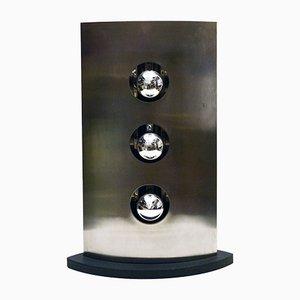 Lámpara de mesa de acero satinado con tres luces de Reggiani, años 70