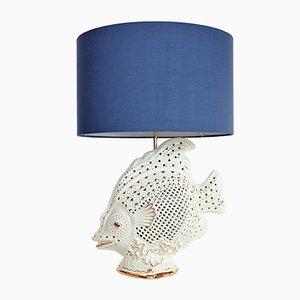 Lámpara italiana en forma de pez de cerámica y latón, años 60