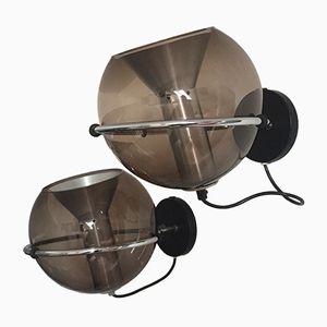 Apliques esféricos de vidrio de Frank Ligtelijn para Raak, 1960s. Juego de 2