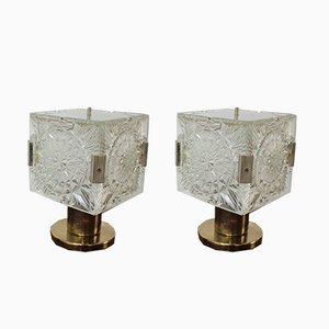 Lámparas de mesa vintage de vidrio y latón de Kamenický Šenov. Juego de 2