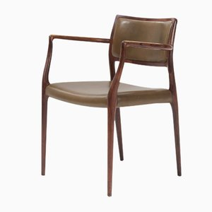 Model 65 Rosewood & Olive Green Leather Chair by Niels O. Møller, 1950s