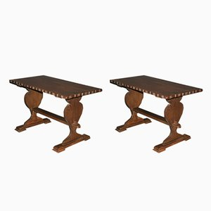 Small Antique Swiss Oak Monastery Tables, Set of 2