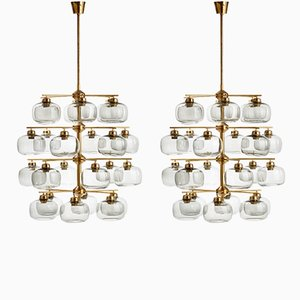 Mid-Century Smoked Glass Chandeliers by Holger Johansson, Set of 2