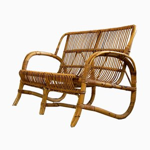 Two-Seater Rattan or Bamboo Bench, 1960s