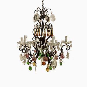 Lámpara de araña vintage con frutas de cristal de Murano