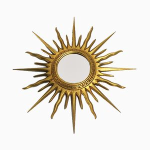 Vintage Wooden Sunburst Mirror, 1960s