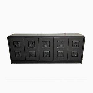 Vintage Brutalist Black Sideboard, 1970s