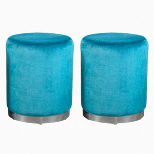 Blauer Vintage Hocker, 1960er, 2er Set