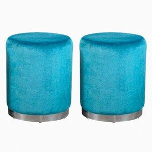 Taburetes vintage azules, años 60. Juego de 2