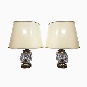 Lámparas de mesa vintage de cristal y latón de Peill & Putzler. Juego de 2