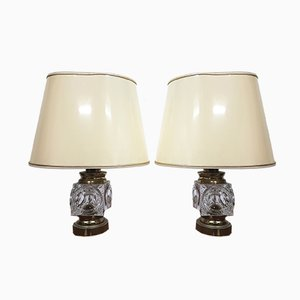 Vintage Crystal and Brass Table Lamps from Peill & Putzler, Set of 2