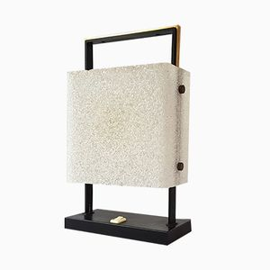 Mid-Century Resin, Steel & Brass Table Lamp from Maison Arlus, 1960s