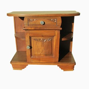Art Deco Walnut Nightstand, 1930s