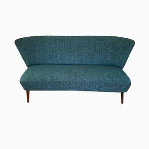 Mid-Century Blue Velvet Sofa