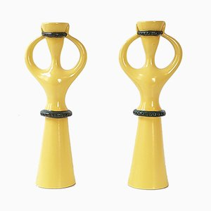 Mid-Century French Ceramic Candle Holders, Set of 2