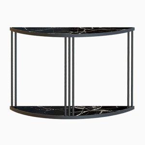 Schwarzer ROMA Konsolentisch mit schwarzer Marmorplatte von Alex Baser f