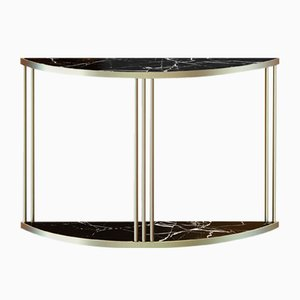 Brass-Plated ROMA Console Table with Black Marble Top by Alex Baser for MIIST