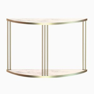 Brass-Plated ROMA Console Table with White Marble by Alex Baser for MIIST
