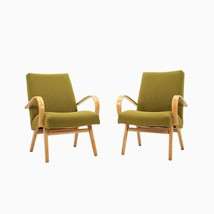 Vintage Beech Lounge Chairs from Thonet, 1960s, Set of 2
