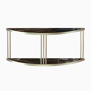 Brass-Plated ROMA Console with Black Marble Top by Alex Baser for MIIST