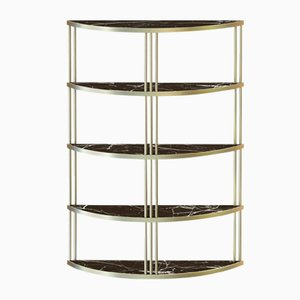 Brass-Plated ROMA Bookcase with Black Marble Top by Alex Baser for MIIST