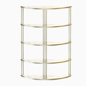 Brass-Plated ROMA Bookcase with White Marble by Alex Baser for MIIST