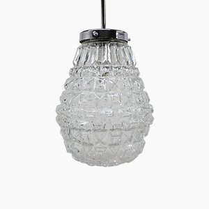 Lámpara colgante vintage de vidrio de Kamenický Šenov