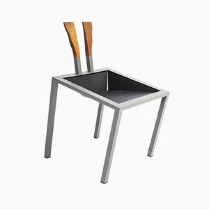 Postmoderner deutscher Prototyp-Stuhl aus Stahl, Leder & Teak, 1980er