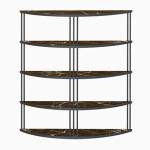 Large Black ROMA Bookcase with Black Marble by Alex Baser for MIIST
