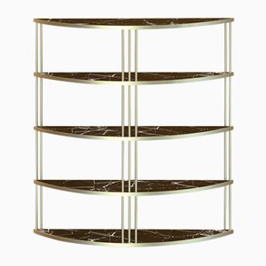Large Brass-Plated ROMA Bookcase with Black Marble Top by Alex Baser for MIIST