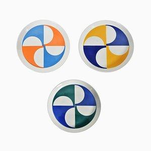 Piatti in ceramica di Gio Ponti per Franco Pozzi, anni '60, set di 3