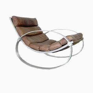 Vintage Leather Rocking Chair by Hans Kaufeld