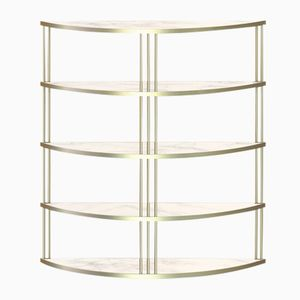 Large Brass-Plated ROMA Bookcase with White Marble by Alex Baser for MIIST