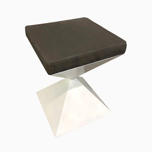 Tabouret Bas Time Blanc et Marron par Metallofficina