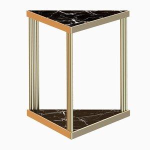Tavolino da caffè TRECENTO placcato in ottone e con marmo nero di Alex Baser per MIIST