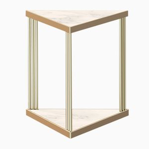 Brass-Plated TRECENTO Coffee Table with White Marble by Alex Baser for MIIST