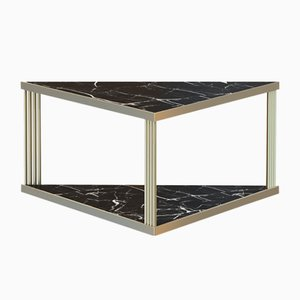 Large Brass-Plated TRECENTO Coffee Table with Black Marble Top by Alex Baser for MIIST