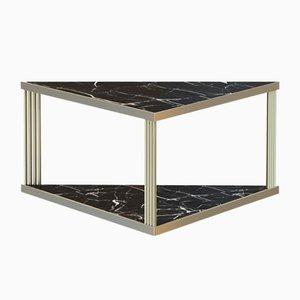 Tavolino da caffè TRECENTO grande placcato in ottone e con marmo nero di Alex Baser per MIIST
