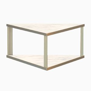 Large Brass-Plated TRECENTO Coffee Table with White Marble Top by Alex Baser for MIIST