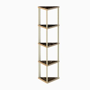 Brass-Plated TRECENTO Bookcase with Black Marble by Alex Baser for MIIST