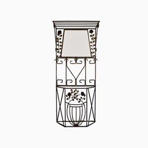 Französische Art Deco Garderobe aus Schmiedeeisen mit Rosenmotiv, 1930er