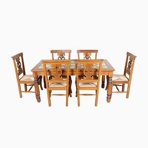 Vintage Pine & Ceramic Dining Set, 1970s