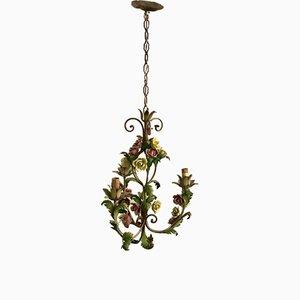 Vintage Italian Tole & Porcelain Flower Chandelier