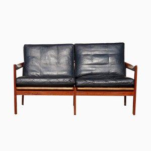 Mid-Century 2-Sitzer Sofa aus Teak und Leder von Illum Wikkels